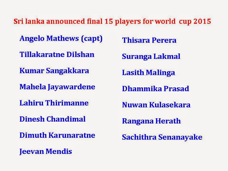 Sri Lanka Final 15 squad for world cup 2015