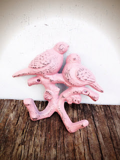 BOLD pastel baby pink towel hook // love BIRDS branch wall hook // hand painted vintage inspired shabby COTTAGE chic