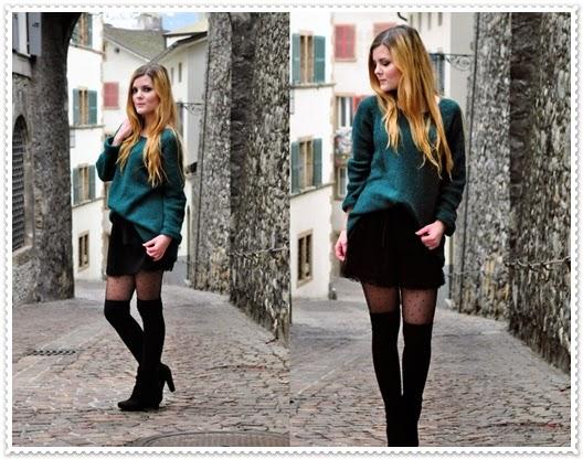 Wintermode Rock und Stiefel Kombination