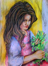 Bimba.   eseguita con matite colorate