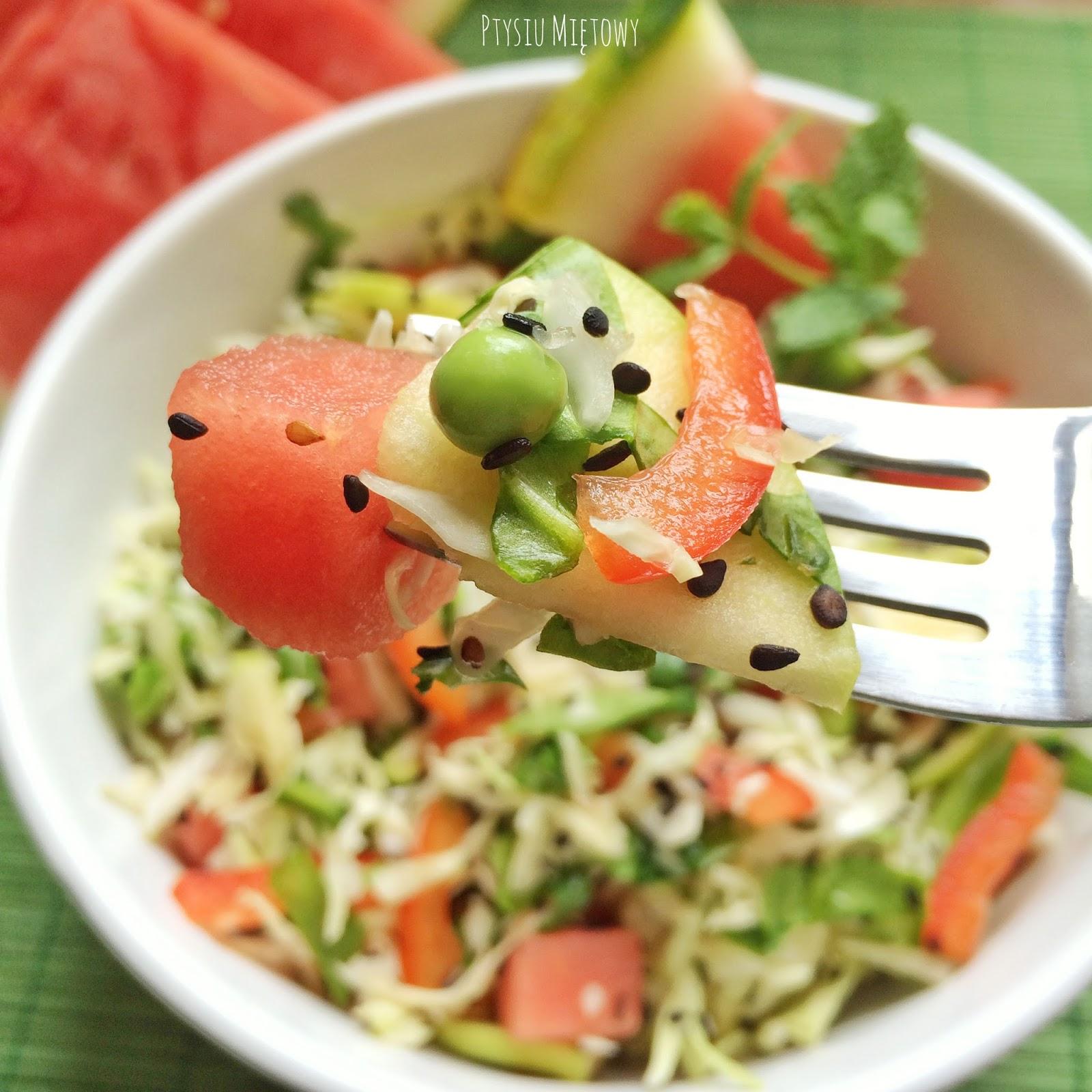 salatka, arbuz, ptysiu mietowy
