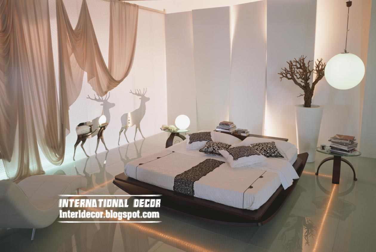 modern gypsum board wall interior design with led lighting for bedroom - Wall Decoration Bedroom