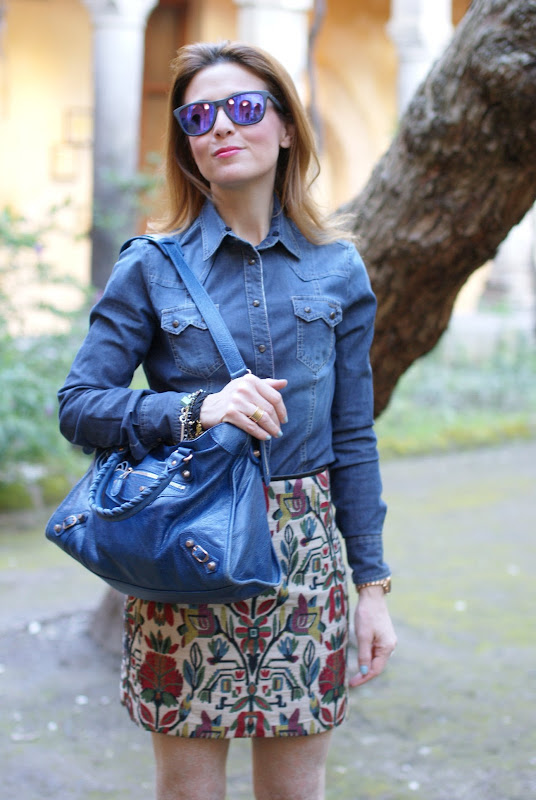 jeans shirt, Zara miniskirt, lace tights