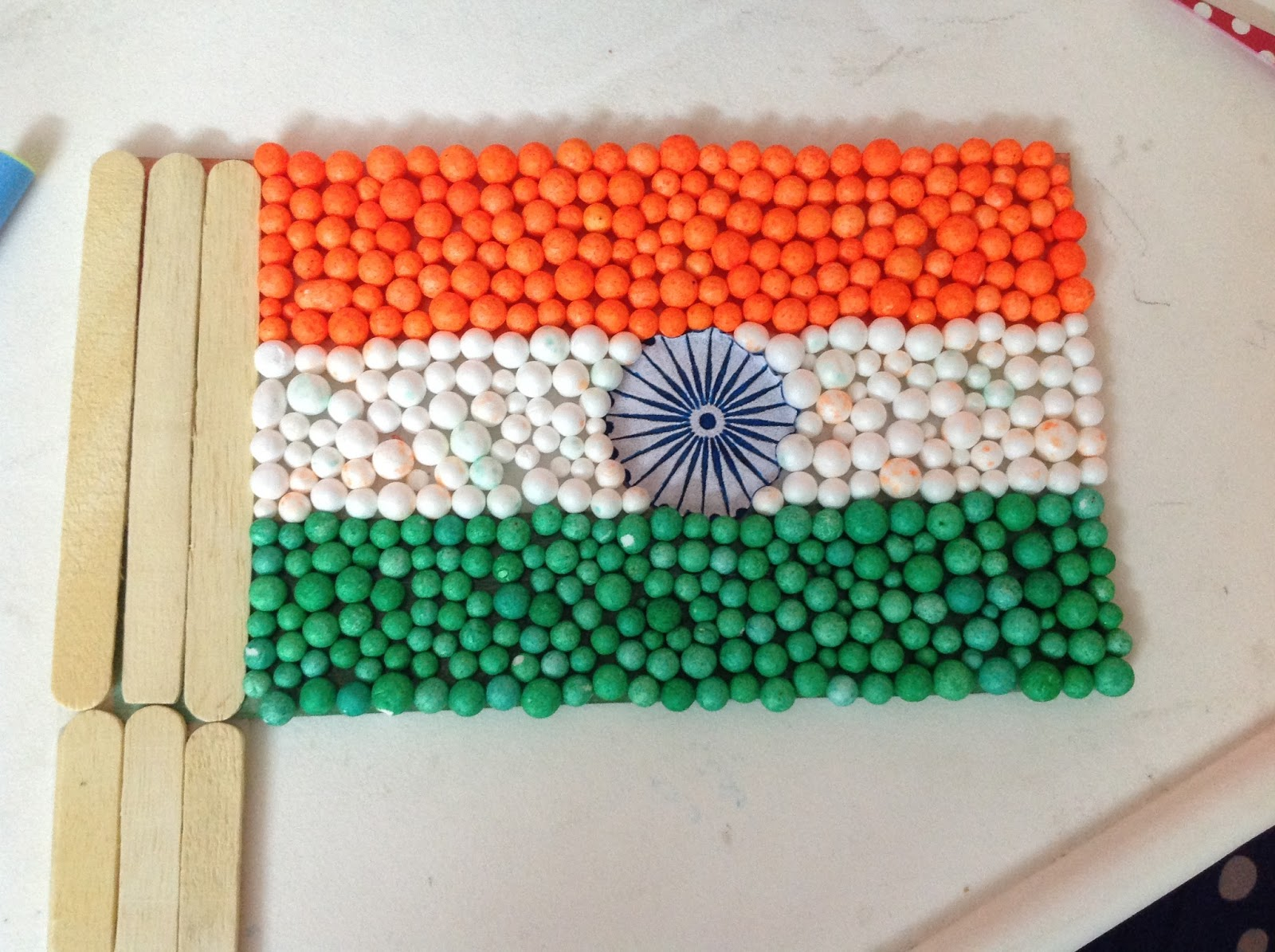 Card Making Ideas Independence Day Part - 29: So We Started It With Making A National Flag! My 3 Yr Old Did It All By  Himself And Was Very Happy As It Had Ice Cream Sticks Too!