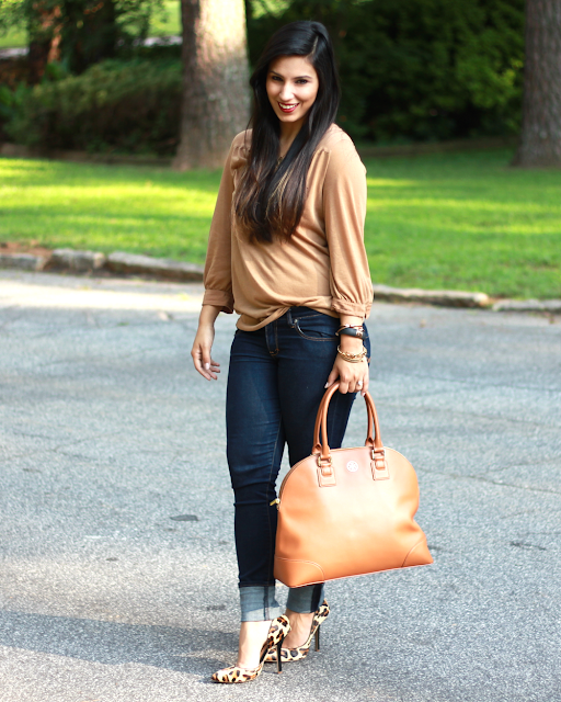 Tory burch robinson, skinny dark jeans, casual work outfit, leopard heels, mac lipstick chili, abercrombie and fitch jeans, hm
