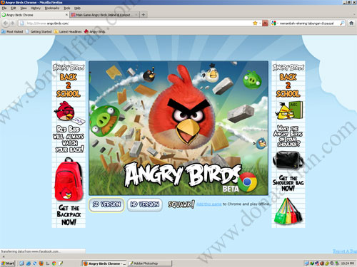 Game Angry Birds di Firefox 6.0