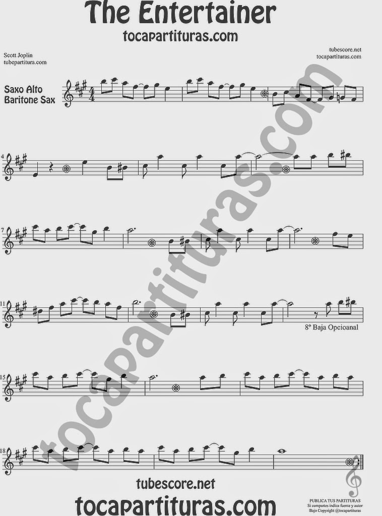The Entertainer Partitura de Saxofón Alto y Sax Barítono Sheet Music for Alto and Baritone Saxophone Music Scores