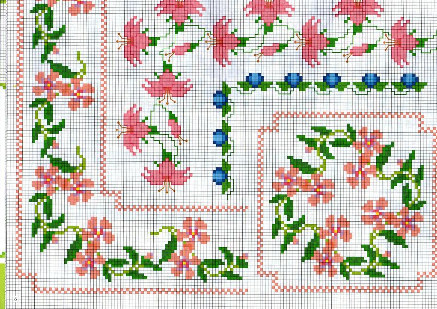 Вышивка крестиком бордюр из мелких цветочков 29