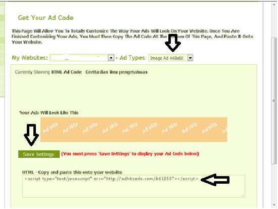Cara Mendapatkan kode iklan Adhitz