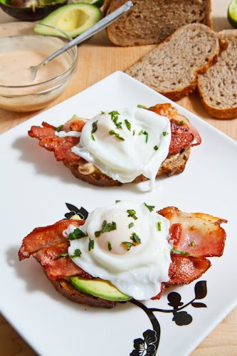 Poached Egg on Toast with Chipotle Mayonnaise, Bacon and Avocado on ...
