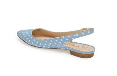 Sole Society blue and white polka dotted sling back flats