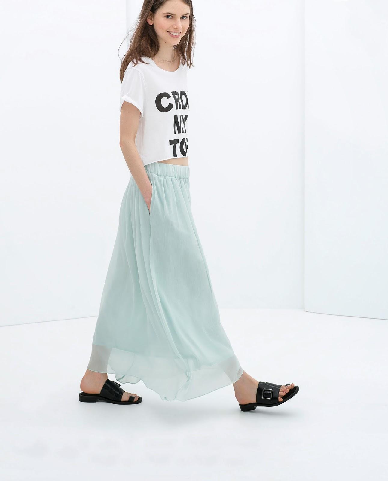 zara blue midi skirt