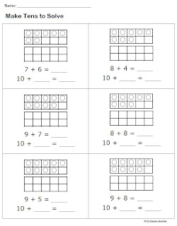 Make Tens on addition facts to d math fact worksheets