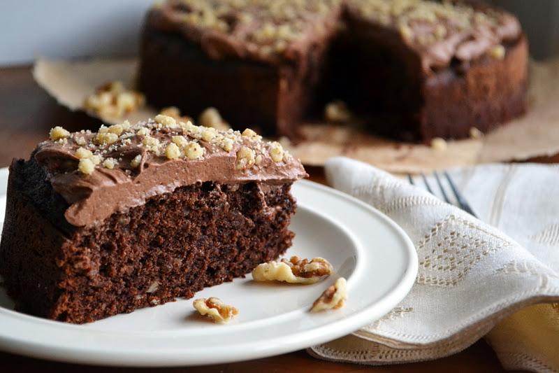 Chocolate Walnut Bourbon Cake