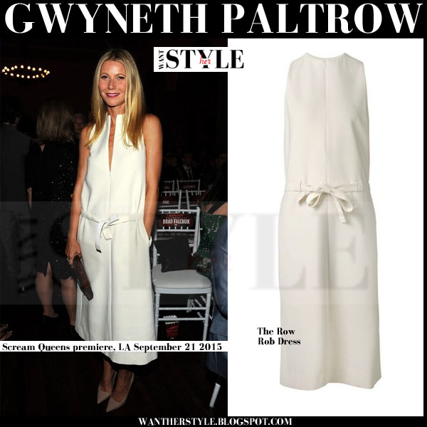 Gwyneth Paltrow in white midi belted waist dress the row rob what she wore red carpet event 2015