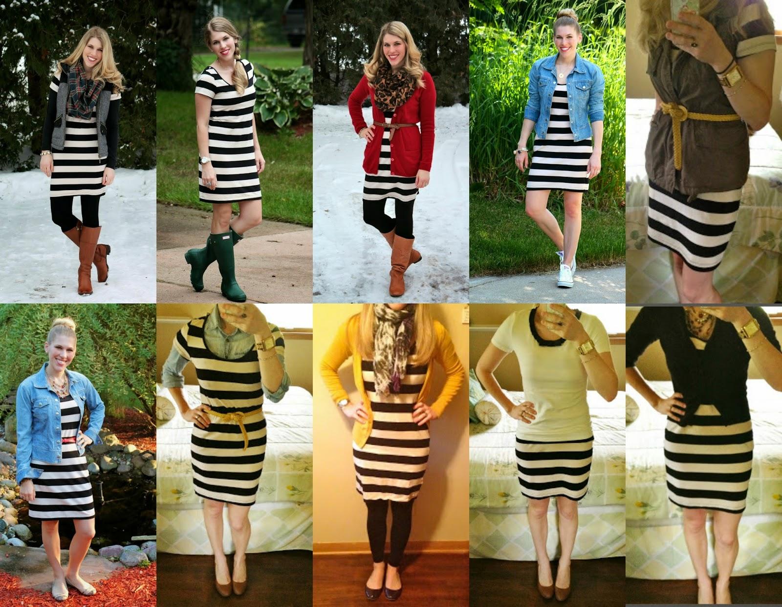 10 ways to wear black and white striped dress