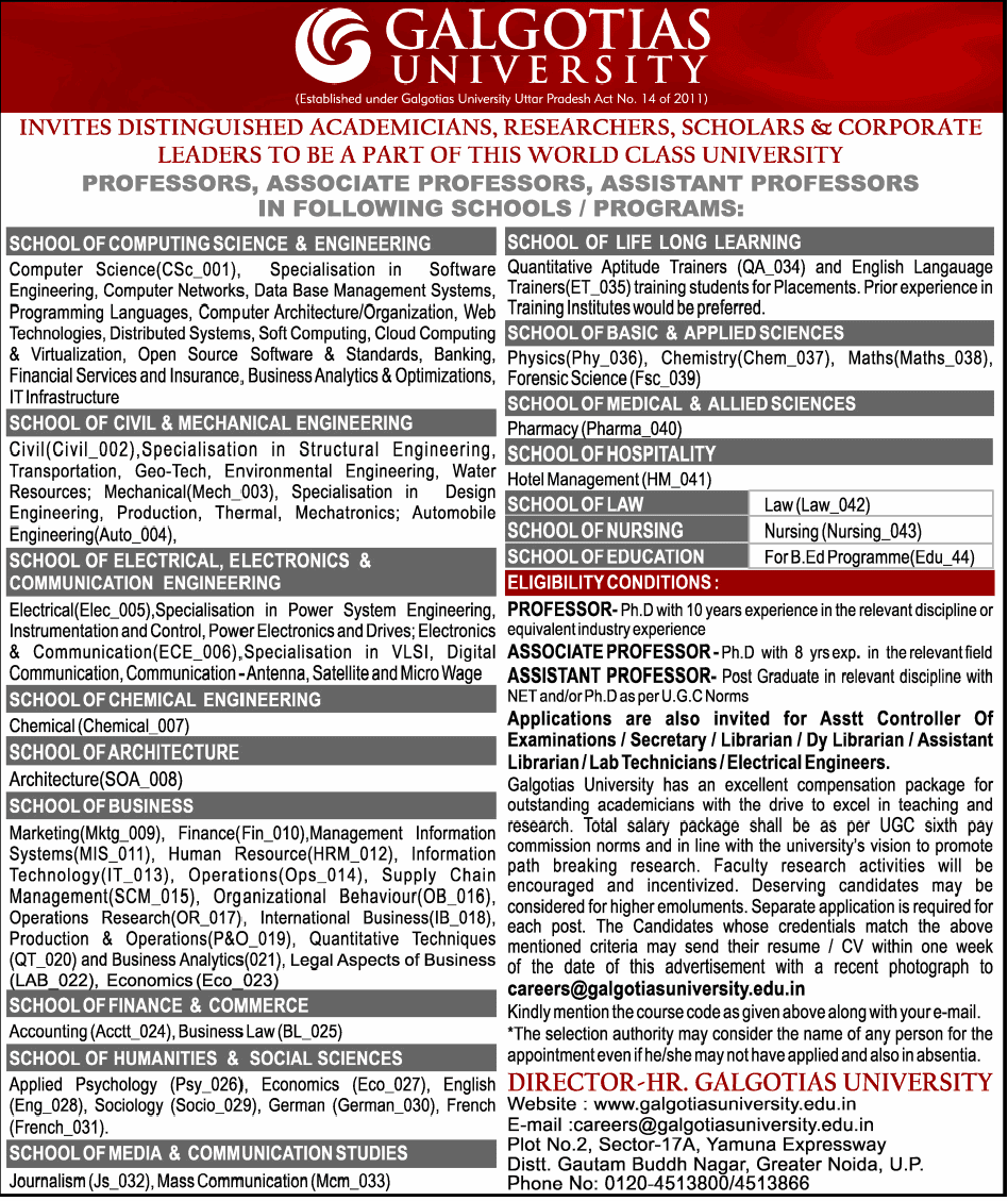 galgotias university wanted professor  associate professor  assistant professor
