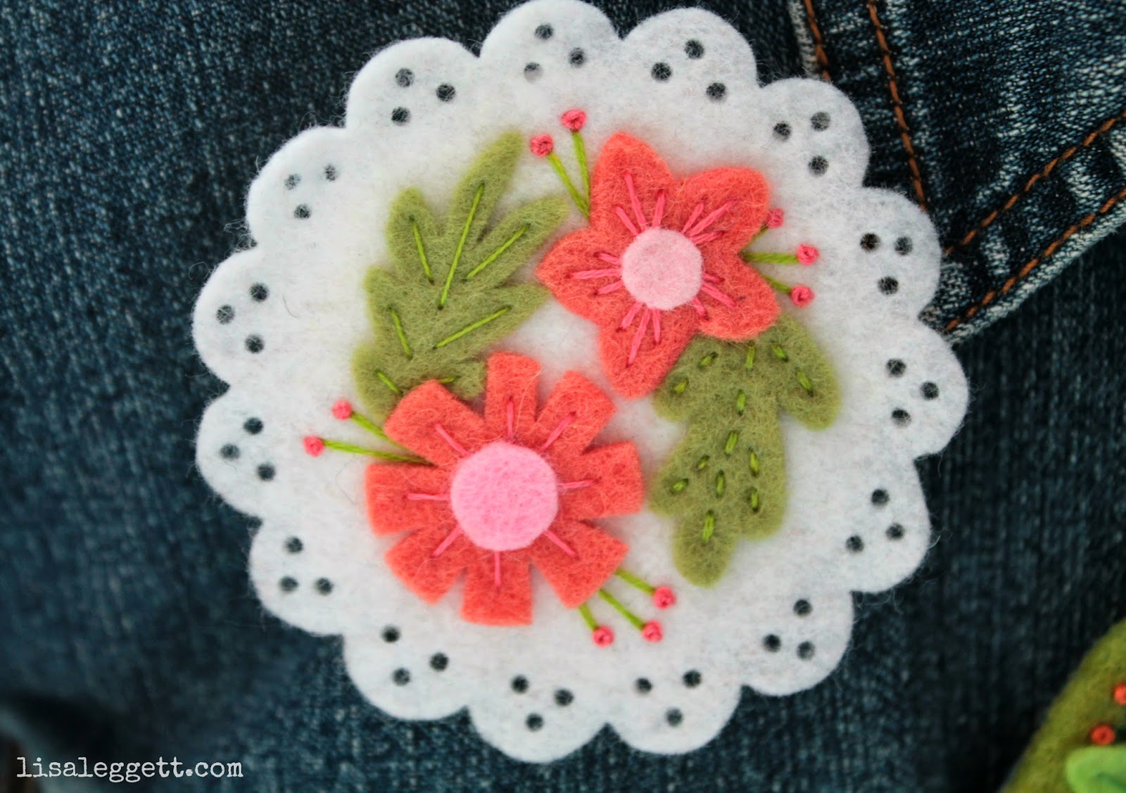 White Floral Embroidered Felt Broach by Lisa Leggett