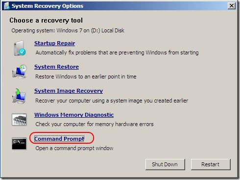 create admin account windows 7 command line