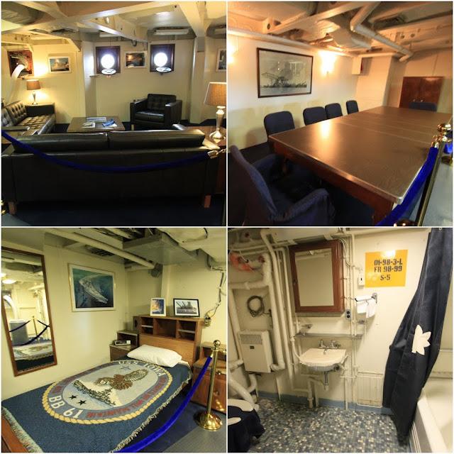 Famous FDR's and Captain's cabin and bathtub in Battleship USS IOWA BB61 in Los Angeles, California, USA