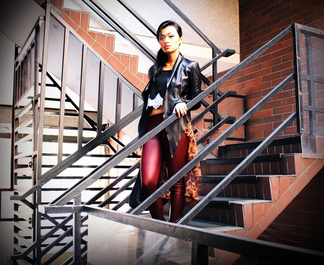 Vancouver Fashion Blogger Jasmine Zhu wearing fall trend Oxblood leggings leopard and leather layered outfit