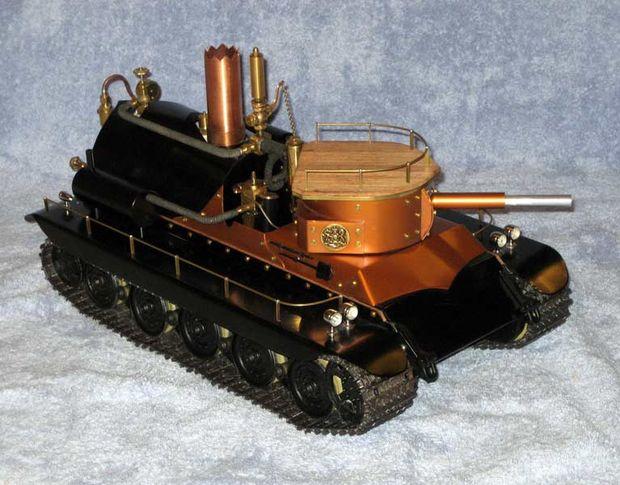 小さなボイラーで動くミニチュア戦車