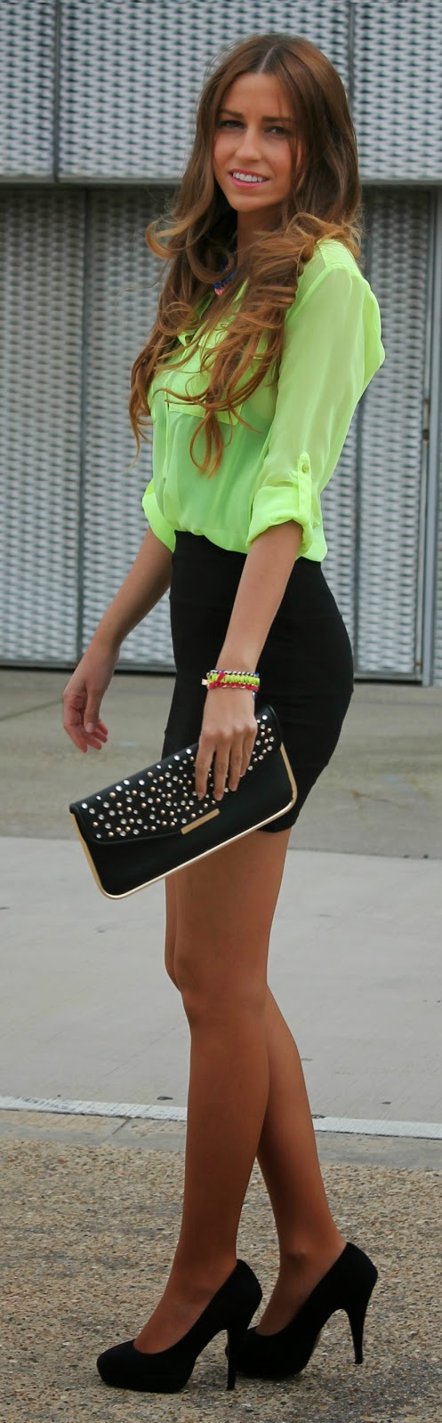 Pop Color Fluor Shirt with Black High Waist Skirt | Chic Summer Outfits