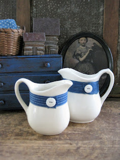 worn ironstone pitchers needed a little pop of color