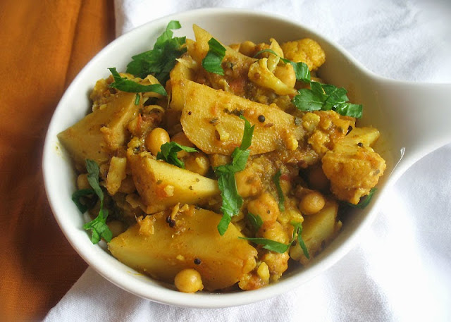 Indian-style potatoes and cauliflower with chickpeas
