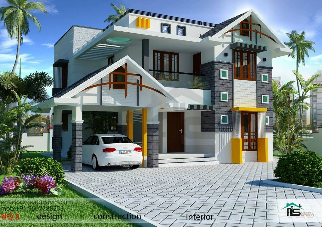 1800sqft mixed roof kerala house design kerala house for Kerala home design flat roof elevation