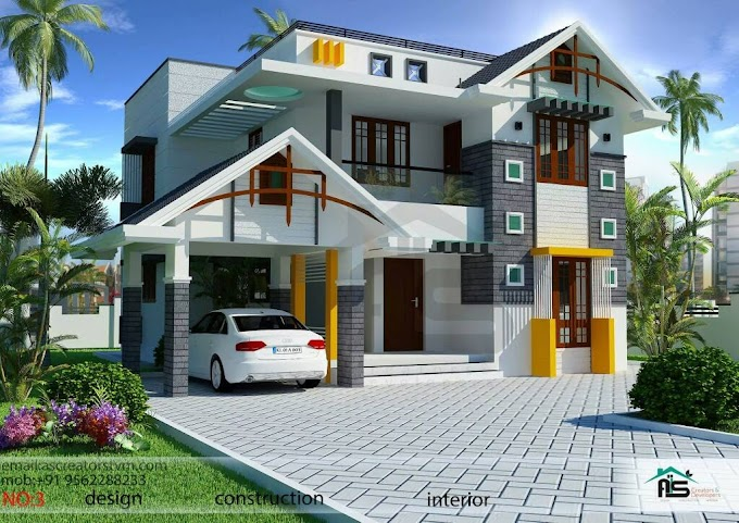 1800sqft Mixed Roof Kerala House Design