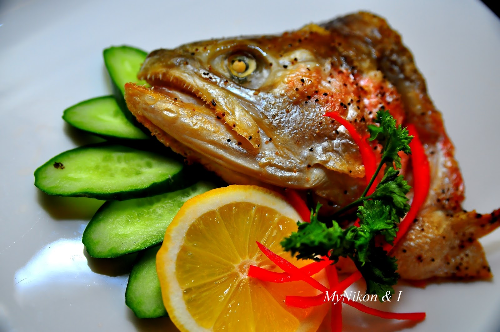 Oven Grill Salmon Head With Salt