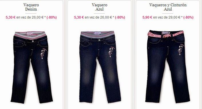 Vaqueros para niña por menos de 6 euros