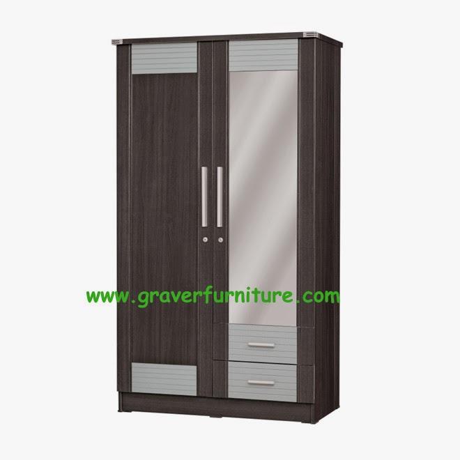 Lemari Pakaian 2 Pintu LP 2896 Graver Furniture