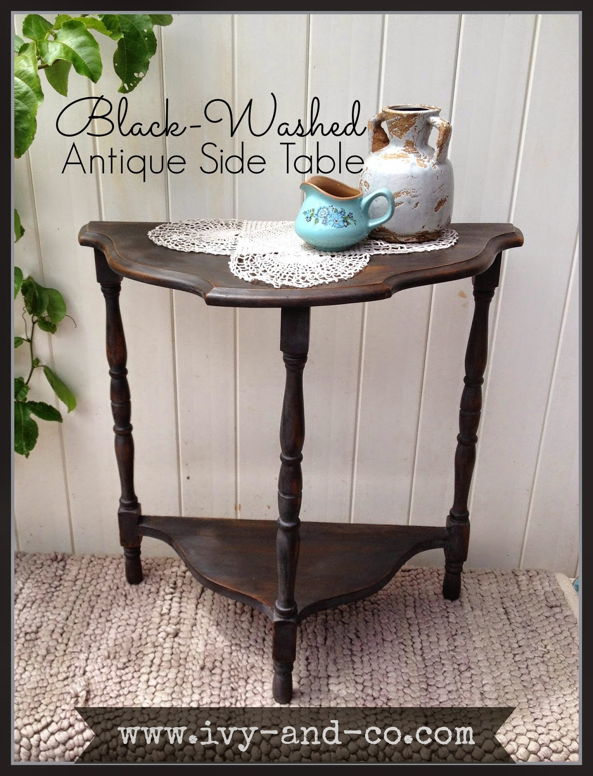 black wash antique side table vintage miss mustard seed typewriter 3 legs