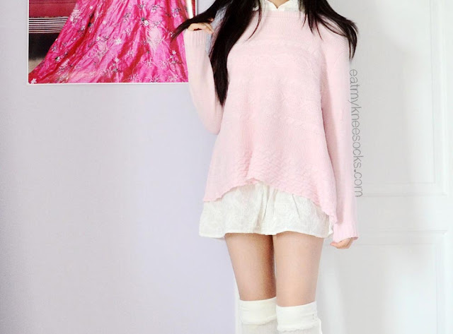 A cute, sweet, ulzzang-inspired outfit for fall, winter, or spring, featuring a pastel sweater and ruffled blouse set from SheIn along with white knee-high socks.