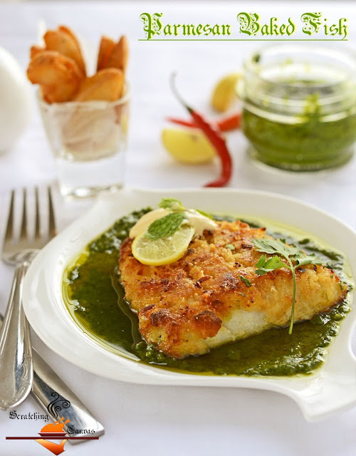 Parmesan Baked Fish with Coriander Pesto