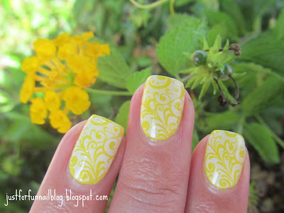Yellow Summer Flowers Nails - stamping with konad m89 over Gade 426 - Lemon Lime