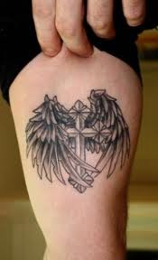 Cross With Angel Wings Tattoo For Women