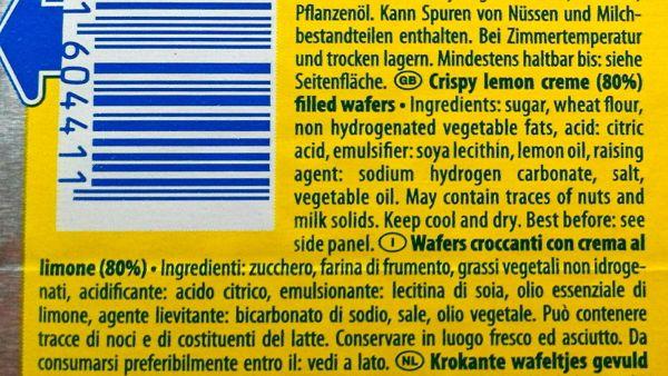 Manner Lemon Wafers Ingredients suitable for vegans