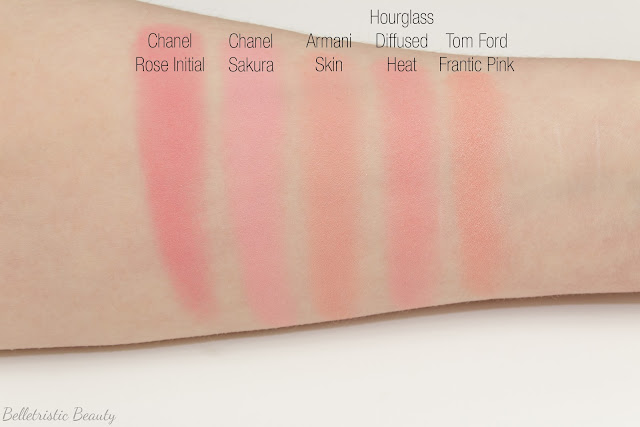 Giorgio Armani Skin 502 Cheek Fabric Sheer Blush Transparent swatches comparison in studio lighting