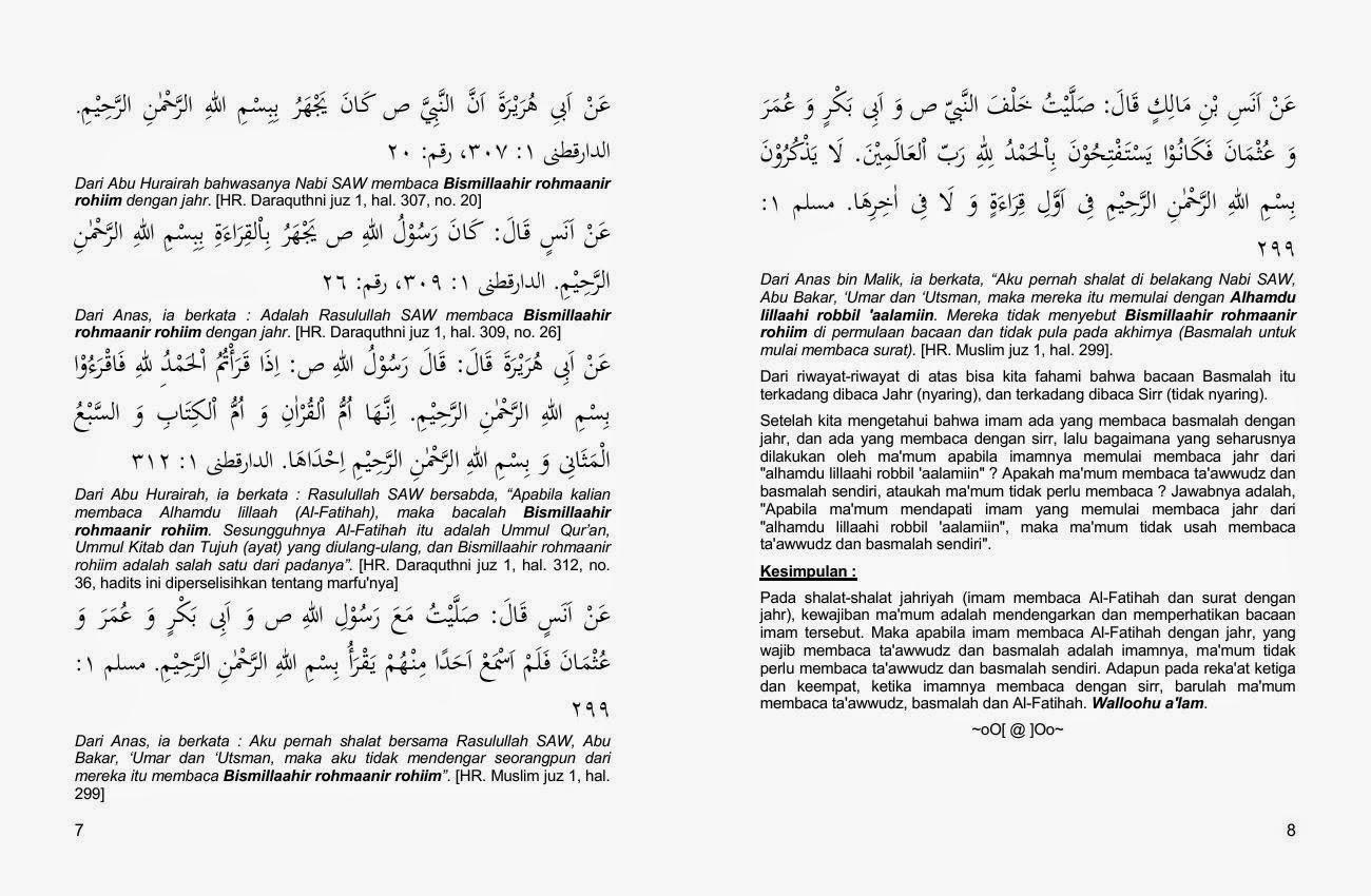 Bacaan taawwudz & basmalah ketika imam jahr