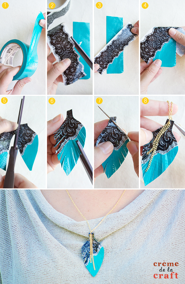 Diy 3 duct tape necklaces video tutorial for Duct tape craft projects