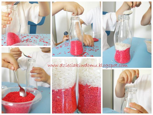 zabawa sensoryczna przesypywanie ryżu flaga polski
