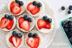 SkinnyTaste's Red, White and Blueberry Cheesecake Yogurt Cupcakes