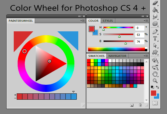 "Screen Capture of Len White's ""Painter's Color Wheel"" for Adobe Photoshop CS 4 +"