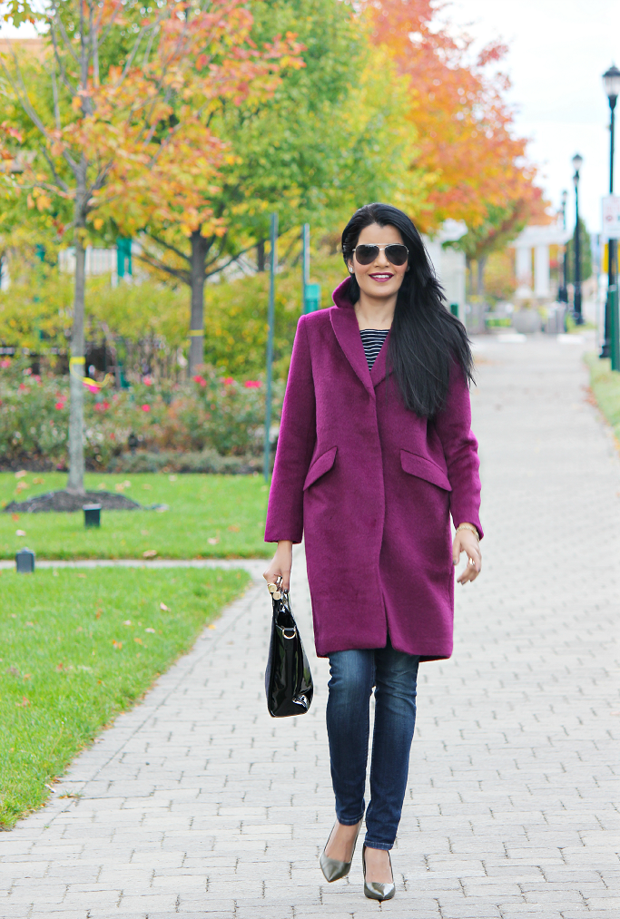 H&M Purple Coat, H&M Purple Wool Coat Review, H&M Oversized Coat, Purple Wool Caot