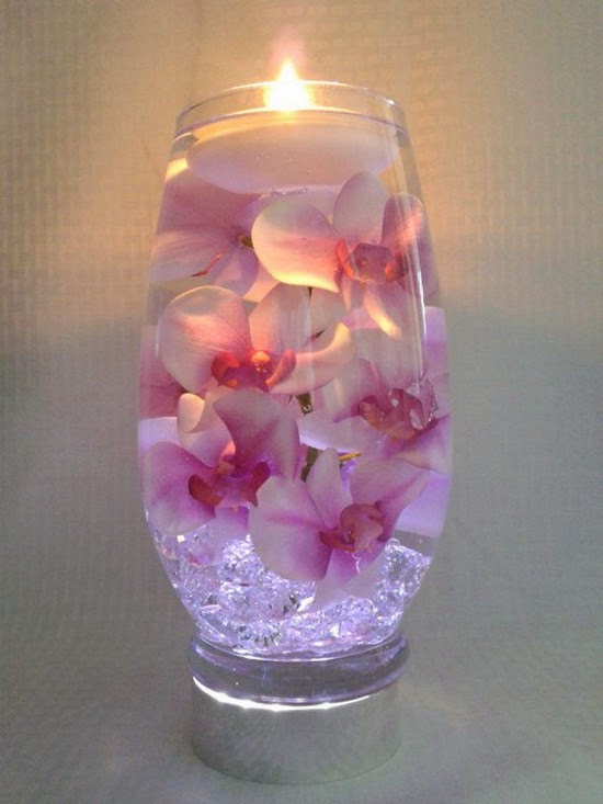 Pink Orchids With Submerged Purple Centers Wedding Table Decorating Ideas