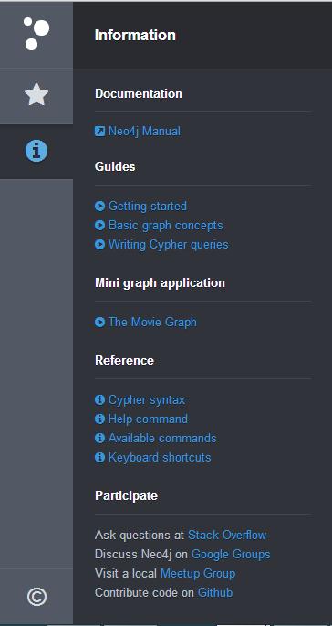 Neo4j Browser menu Info