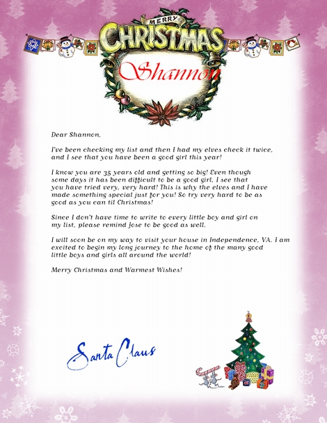 Transformative image in free printable letter from santa